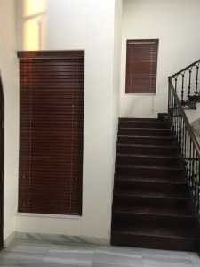 wooden blinds in stair area