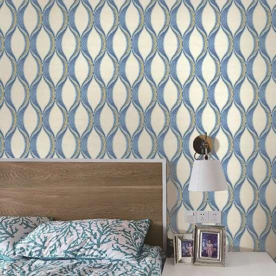 3D small house blue boy's bedroom wallpaper