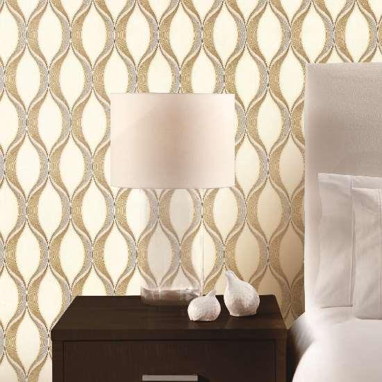 3D neutral beige color small house living room wallpaper